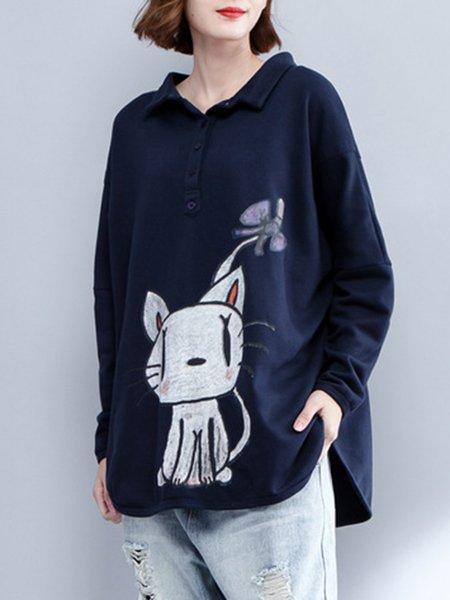 Blue Animal Cotton-blend Printed Long Sleeve Sweatshirt
