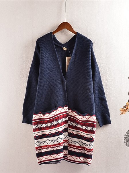 Knitted Geometric Knitted Long Sleeve Casual Cardigan
