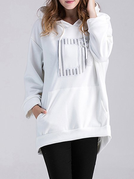 Cotton-blend Long Sleeve Simple Solid Hoodie