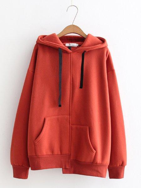 Cotton-blend Long Sleeve Solid Casual Hoodie Hoodie