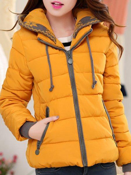 Zipper Solid Cotton-blend Simple Long Sleeve Coat
