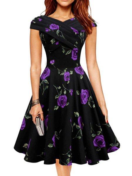 Women Vintage Dress Swing Going out Vintage Floral Dress