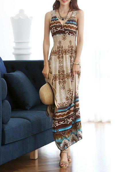 Brown Women Print Dress V neck A-line Holiday Long Sleeve Floral Dress