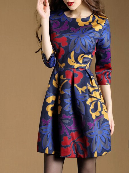 Blue Floral Cotton-blend A-line Elegant Dress