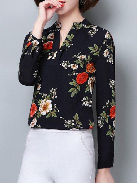 Elegant Stand Collar Printed Floral Blouse