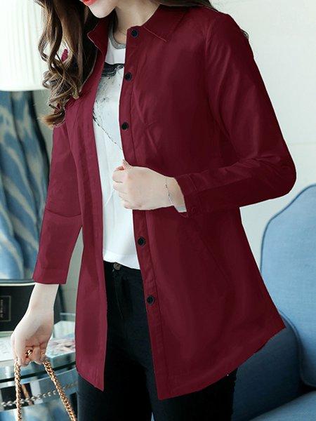 Shirt Collar Cotton-blend Simple Solid Shirt