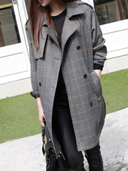 Gray Lapel Cotton-blend Long Sleeve Trench Coat