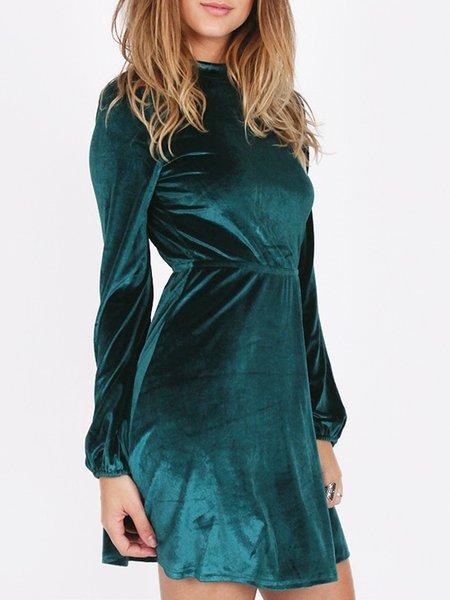 Green A-line Long Sleeve Crew Neck Dress