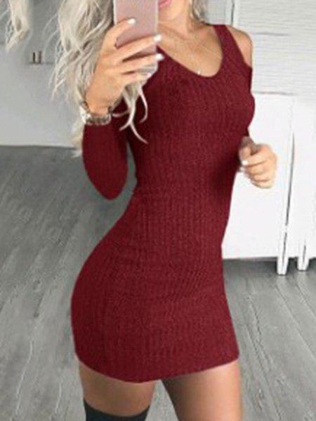 Elegant Cold Shoulder Long Sleeve Solid Cotton-blend Dress