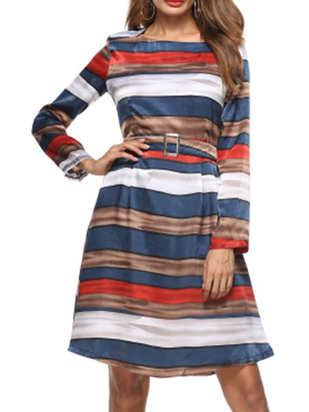 Multicolor Women Casual Dress Crew Neck Daytime Long Sleeve Striped Dress