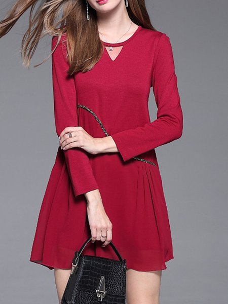 Burgundy A-line Solid Crew Neck Casual Dress
