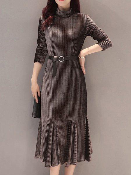 Solid Turtleneck Velvet Long Sleeve Elegant Dress