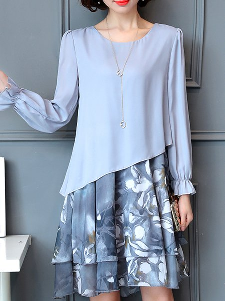 Cotton-blend Crew Neck Elegant Long Sleeve Dress