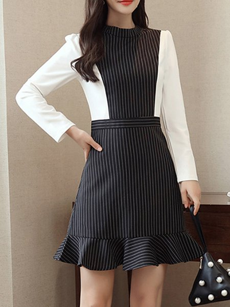 Black A-line Crew Neck Cotton-blend Long Sleeve Dress