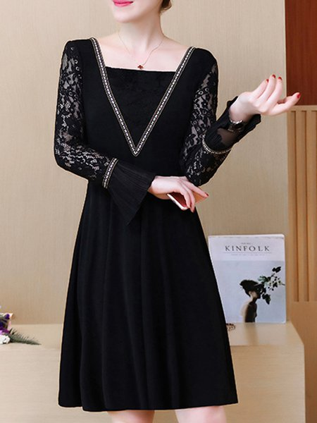 Black A-line Bell Sleeve Lace Paneled Dress