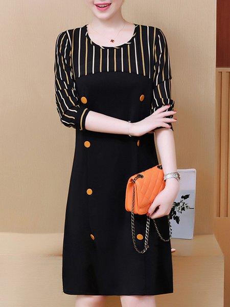 Black Elegant Buttoned A-line Cotton-blend Dress