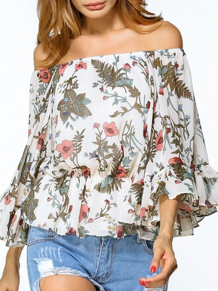 White Printed Long Sleeve Off Shoulder Blouse