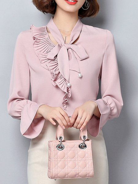 Solid Chiffon Bell Sleeve Blouse