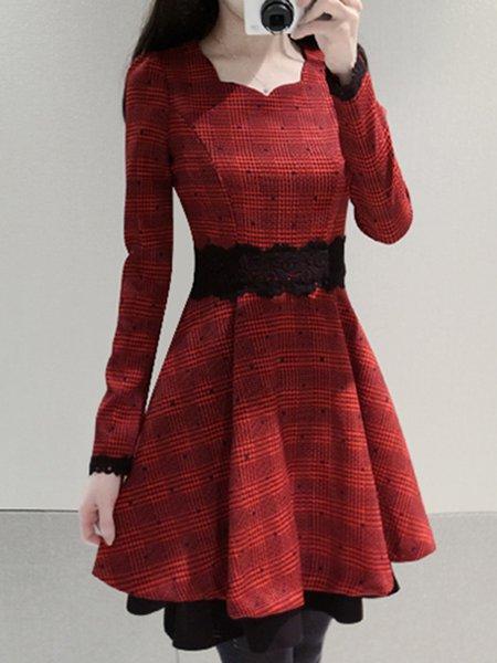 Red Checkered/Plaid Elegant A-line Cotton-blend Dress