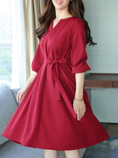 Cotton-blend Solid Casual Crew Neck Long Sleeve Dress