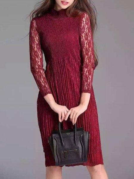 Long Sleeve Cotton-blend Elegant Dress