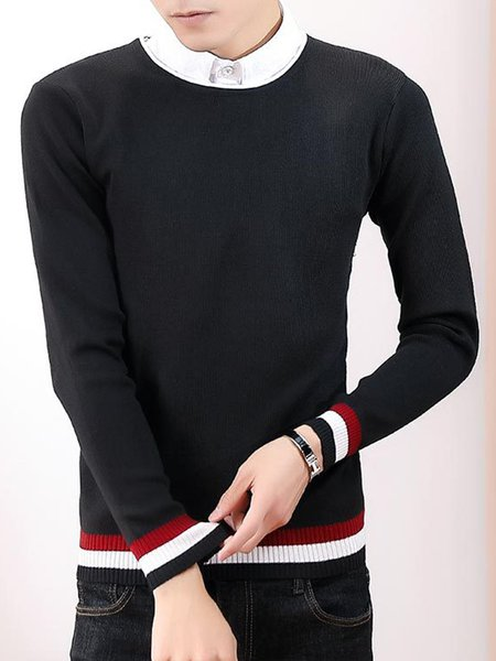 Knitted Long Sleeve Casual Crew Neck Solid Sweater