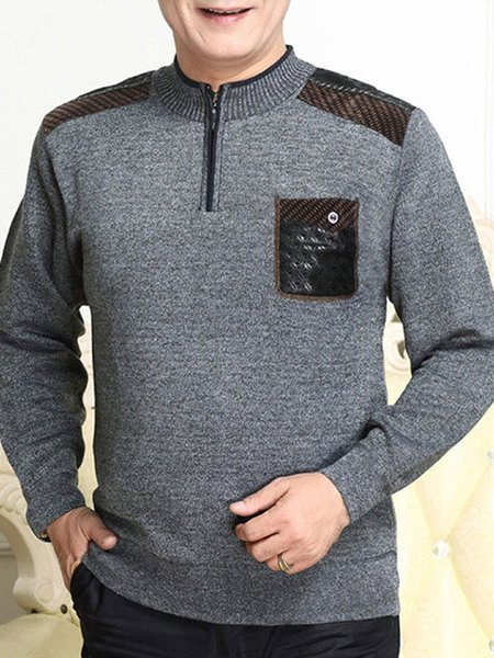 Long Sleeve Solid Stand Collar Pockets Casual Sweater