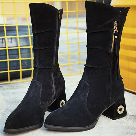Chunky Heel Zipper Suede Mid-calf Boots