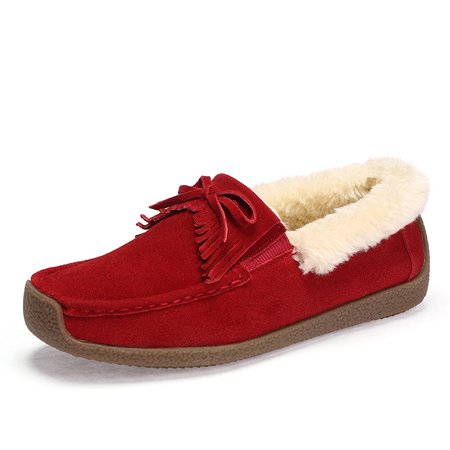 Fur Lined Flat Heel Bowknot Suede Loafers
