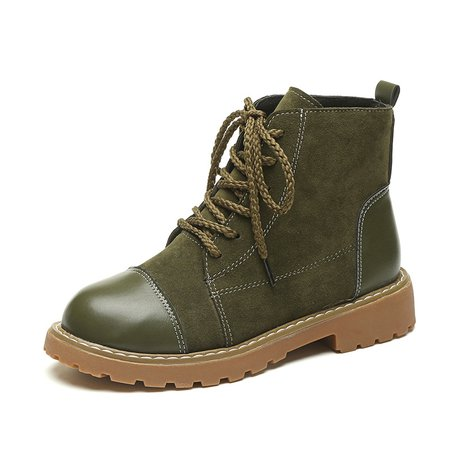 PU Panel Suede Non Slip Lace-up Martin Boots
