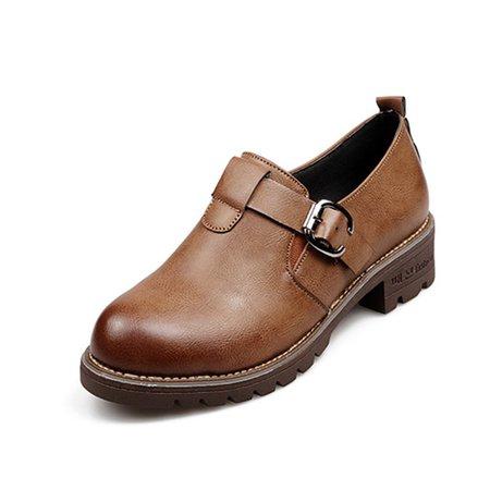 Buckle PU Martin Slip On Chunky Heel Boots