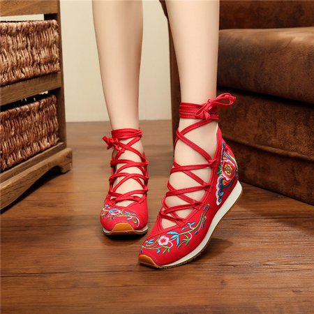 Floral Embroidered Wedge Heel Lace-up Canvas Shoes
