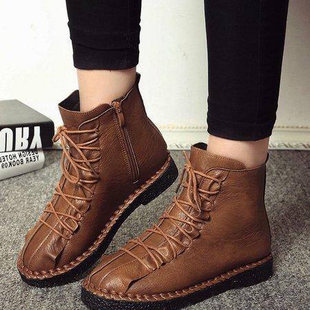 PU Zipper Flat Heel Casual Lace Up Boots