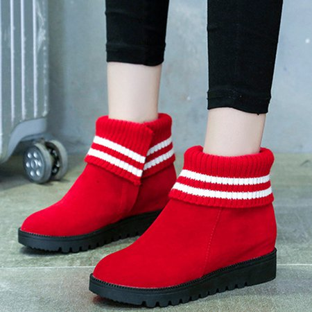 Non Slip Knitted Panel Suede Wedge Heel Boots