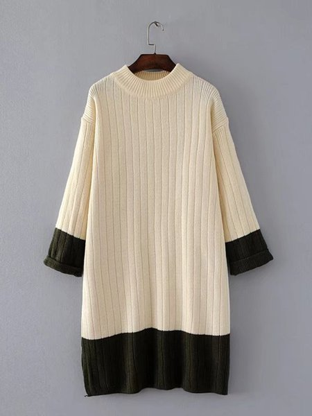 Casual Long Sleeve Crew Neck Knitted Solid Dress