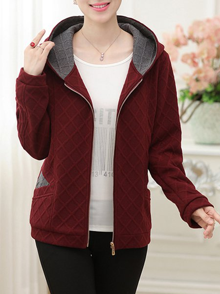 Hoodie Solid Cotton-blend Casual Coat