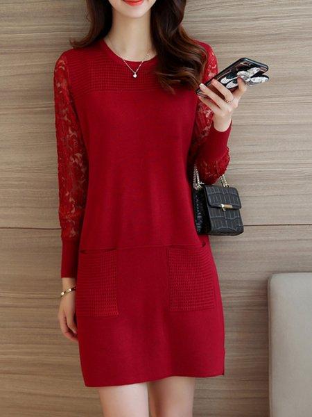 Knitted Cotton-blend Long Sleeve Paneled Dress