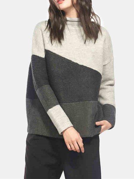 Gray Turtleneck Color-block Casual Sweater
