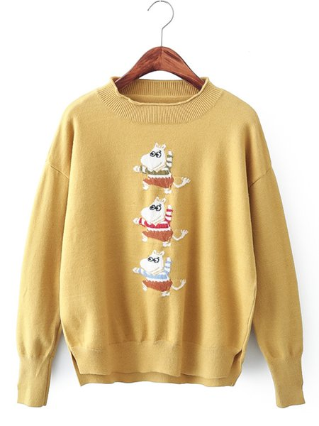 Cotton-blend Leopard-print Casual Animal Sweater