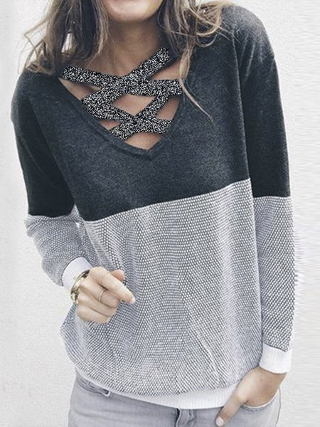 Gray Knitted Knitted Crew Neck Casual Sweater