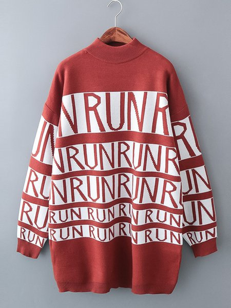 Long Sleeve Casual Crew Neck Cotton-blend Letter Sweater