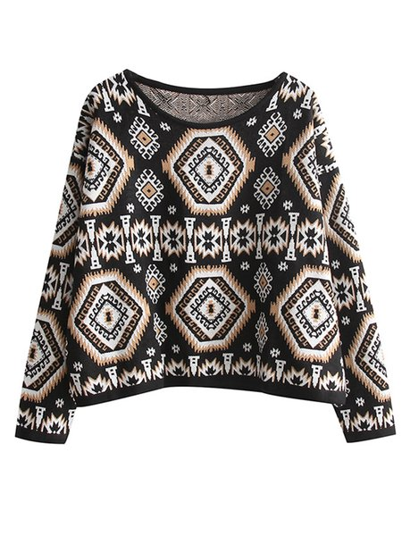 Black Knitted Crew Neck Long Sleeve Printed Sweater