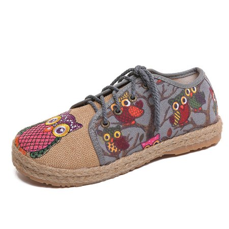 Pattern Owl Colorful Canvas Paneled Linen Lace Up Shoes