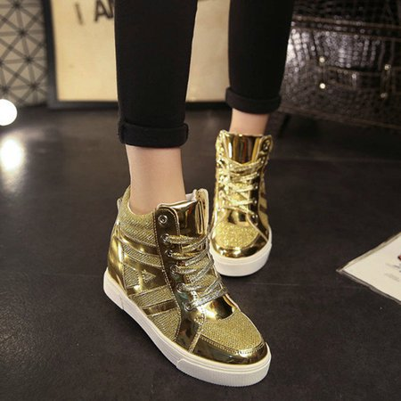 Sequin PU Casual Lace-up Paltform Boots