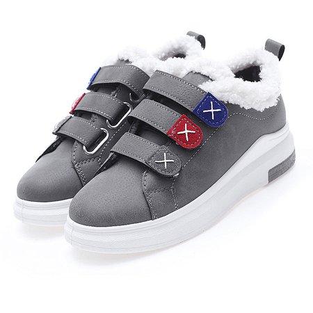 Magic Tape PU Fleece Lined Sneakers