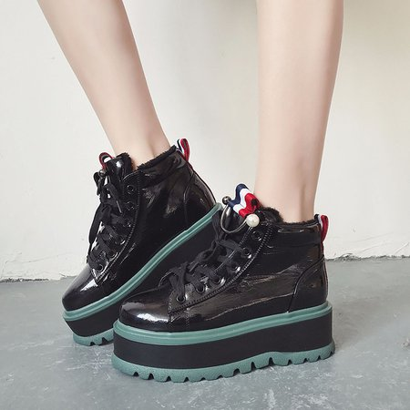 Fur Lined Lace-up PU Platform Shoes