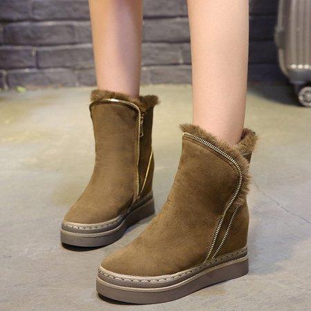 Convertible Wedge Heel Fur Lined Zipper Boots