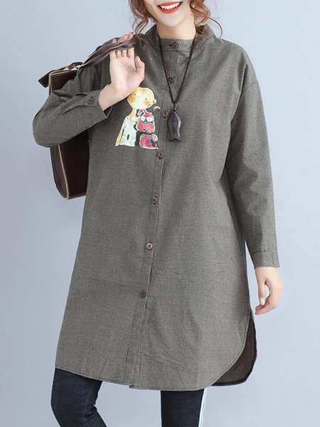 Gray Cotton-blend Long Sleeve Stand Collar Coat
