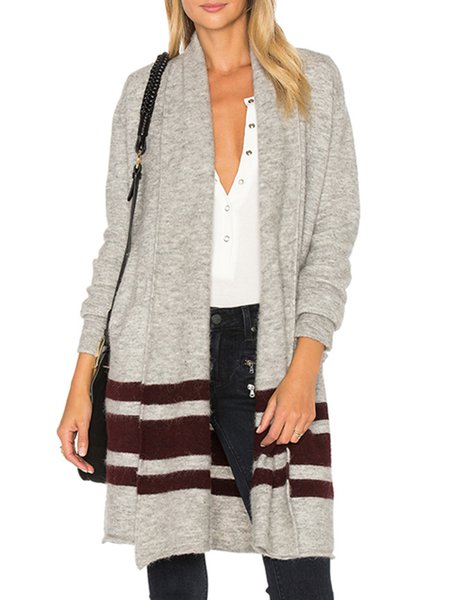 Cotton-blend Stripes Casual Long Sleeve Cardigan