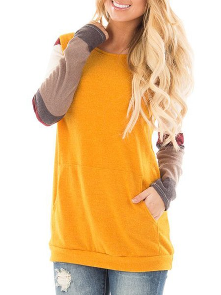 Paneled Solid Simple Long Sleeve Crew Neck T-Shirt